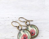 Bronze Poppy Flowers - unique poppy art - red flower - Poppy Jewelry - red and green design - poppy earrings