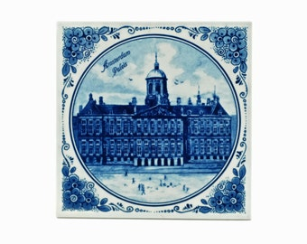"Vintage Delft 'Royal Mosa Holland' Hand Painted Tile featuring ""Amsterdam Paleis"""