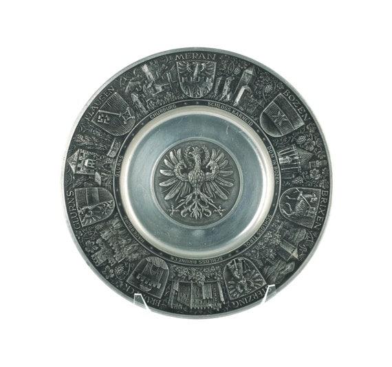 Vintage German Anton Schreiner Cast Relief Pewter Plate