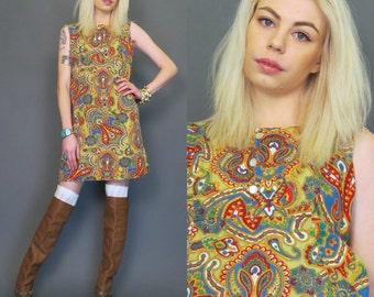 vintage 60s paisley mini shift dress // mod dress // hippie // boho // A-line dress