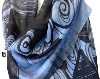 Hand Painted Silk Wool Shawl, Blue Shawl, Zen Elements Shawl, Water, Black and Blue Warm Silk Wool Shawl, Silk Scarves Takuyo, 36x80 inches,
