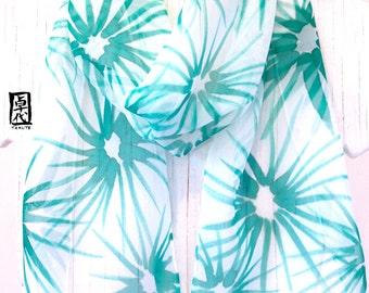 Hand painted Silk Scarf, Small Silk Scarf, Emerald Green Hanabi Flowers Scarf, Silk Chiffon Scarf, Silk Scarves Takuyo, 7x50 inches.