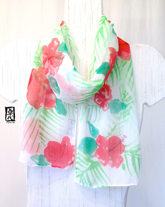 Hand Painted Silk Scarf, Holiday Gift under 50. Red Hibiscus with Green Palm Leaves, Handmade in Hawaii. Silk Scarves Takuyo. 7.5x52 inches.