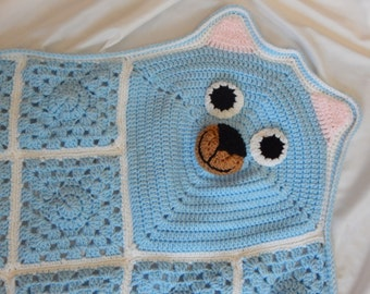 Bear Blanket Afghan Throw - Baby, Toddler and Child - Blue and White Crochet