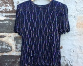SALE! WAS 25.00 - RARE Clothing Co silk sequined navy shell top