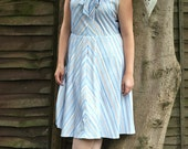 Vintage 1970s dress with pussybow and stripes UK size 18 US size 14