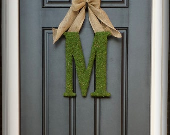 Fall Wreath. Harvest Wreath. Monogram Wreath. Custom Moss Letter Wreath.  Simple Elegance for the Southern Belles.
