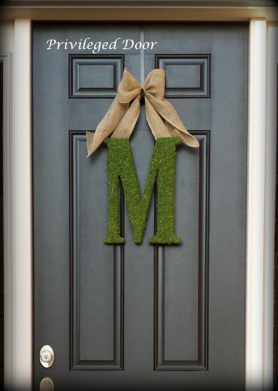 Spring Wreath.  Letter Wreath. Monogram Wreath. Custom Moss Letter Wreath.  Simple Elegance for the Southern Belles.