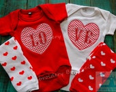 "TWINS ""Valentine's LO-VE"" Embroidered / Appliqued Onesie Set w/ Leggings"