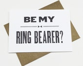 Will You Be My Ring Bearer Card - letterpress ring bearer card