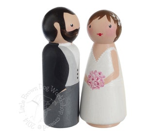 Custom hand painted peg doll bride & groom wooden wedding cake topper, personalised couple, wood people ornament for Spring weddings