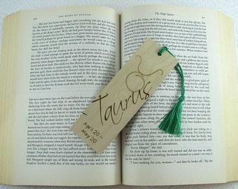 Zodiac Taurus Wood Bookmark - Horoscope Bookmark - Pyrography - BKInspired