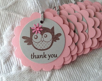 Set of 12 Pink and Gray Owl Tags - Favor Gift Tags - Party Tags  - Baby Shower - Bridal Shower