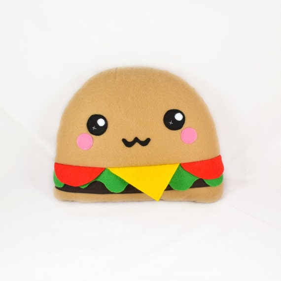 Articoli simili a burger pillow plushee cushion for Immagini disegni kawaii