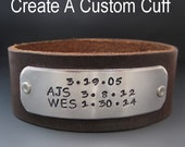 Men's Hand Stamped Personalized  Leather Cuff Bracelet