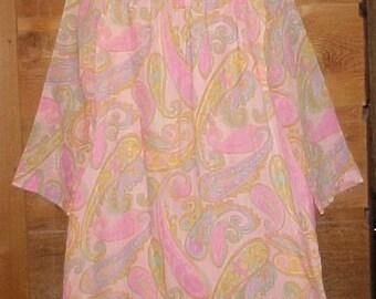 Mid Century Mod Dress - Pink Paisley Print - 1960s Tent Dress