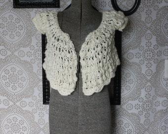 Vintage 1970's Cream Crochet Shawl Sweater