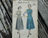 Advance 6177 1950s 50s Vest Skirt Suit Vintage Sewing Pattern Size 16 Bust 34