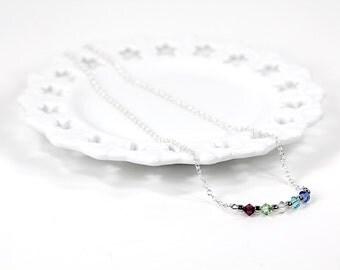 Birthstone Necklace Swarovski Crystal Family Birthstone Necklace Mother Grandmother Personalized Minimal Modern Bar Pendant