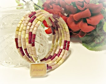 Friendship Wrap Bracelet - Cranberry, Lt Mauve, Natural - Gifts for Her, Gifts Under 25, Gifts for Friend, Friendship Memory Wire Bracelet