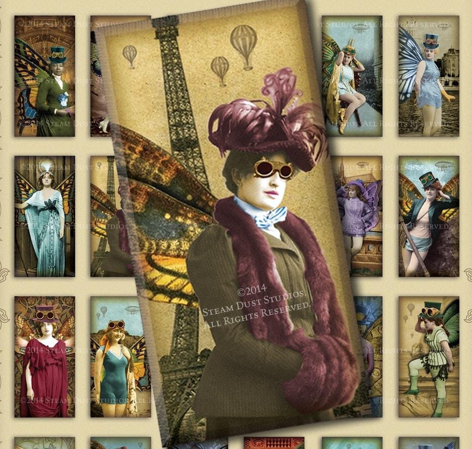 steampunk fairy women paris airships hot air balloons 1x2 domino tiles digital collage. Black Bedroom Furniture Sets. Home Design Ideas