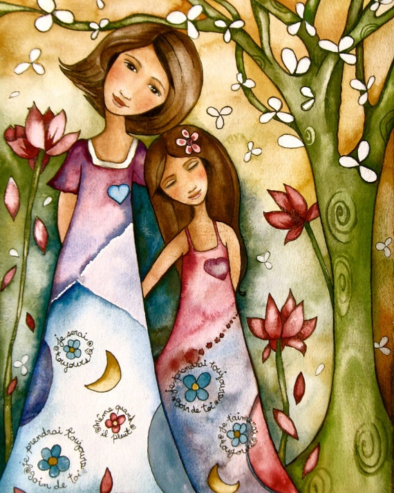 Mother and daughter whimsical forest