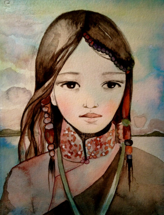 Woman from asia , hmong inspired watercolor