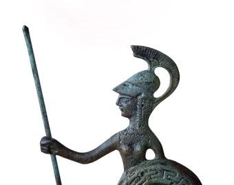 Greek Goddess, Greek Key Verdigris Goddess Statue Athena, Bronze Sculpture, Greek Mythology, Ancient Greece, Metal Sculpture, Museum Replica