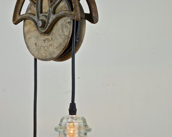 Hancrafted Pendant with Reclaimed Barn Pulley & Glass Insulator Lights