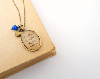 Psalm 51:10.  Create in me a pure heart.  Vintage Style Necklace.