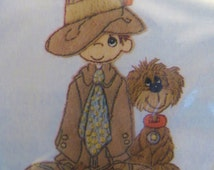 Precious Moments Embroidery Kit, Stitchery Kit, Paragon 1083, 8 x 10, Little Boy and Dog, Baby Shower Gift Embroidery Project Sewing Project
