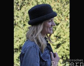Felted Wool Bowler Style Hats (3 sizes) Crochet PATTERN - PDF 1723