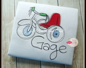 Tricycle Shirt - Little Brother Shirt, Big Brother shirt, Siblings shirt, Steampunk, Light Embroidery