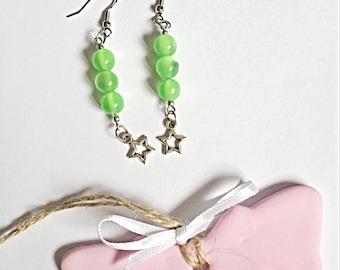 Star Earrings - Dangly Star Earrings - Green Star Earrings - Green Star Earrings - Dangly Earrings - Gift For Her - SALE