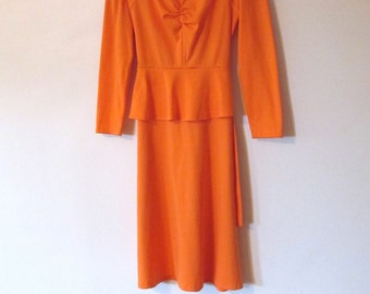 Vintage 1980's Orange Peplum Dress Size M