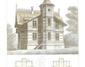 1873 Architectural Print Maison de Campagne, Limoges, France, Country House