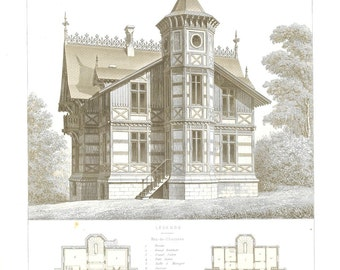 1873 Architectural Print Maison de Campagne, Limoges, France, Country House