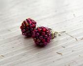 Handwoven Stud Earrings - stud earrings, handmade earrings, cranberry earrings, handwoven, colorful earrings, bead earrings, petite earrings