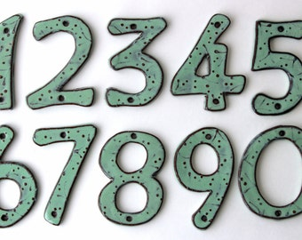 House Numbers Modern - 4 inch, 5 inch or 6 inch Size Pottery Letters or Numbers - Aqua Mist Color - One 1 - MADE TO ORDER
