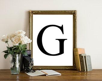 Printable letter art, letter G, letter H, letter I wall art, Black letter, simplistic, monogram, initial art print, instant download