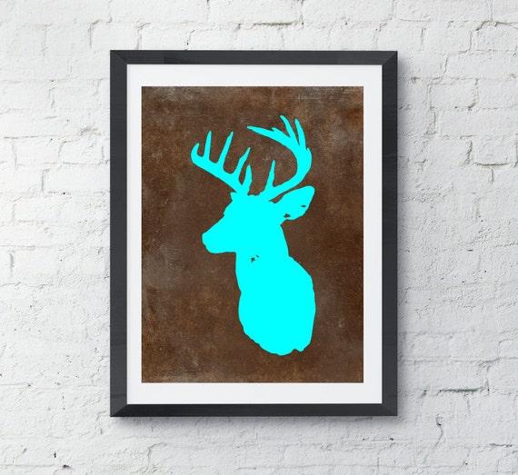 Deer art print, Silhouette, Deer Antler, Deer Art Print, Log Cabin Art, Log cabin decor