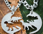 Dinosaur Jewelry, Kids Best Friends Necklaces, T-rex and Triceratops Hand Cut on a Quarter