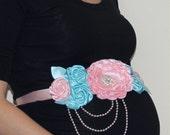 Pink and Blue Maternity Sash Gender Reveal Girl or Boy Sash