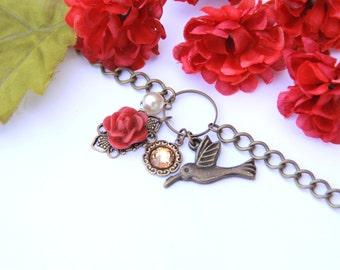 Charm Bracelet. Hummingbird Jewelry. Romantic Jewelry. Gift For Mom. Floral Bracelet. Jewelry Under 30. Gift For Bridesmaid. Pretty Bracelet
