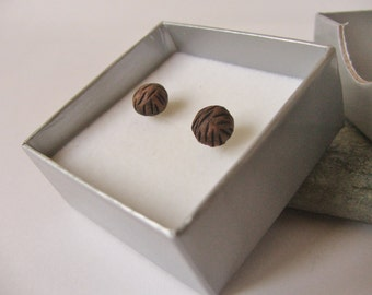 Small Ceramic Pottery Brown Textured Ball Stud Post Earrings, Chocolate Brown Jewelry, Everyday Earrings, Simple Studs, Nickel Free