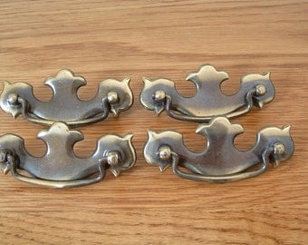 Vintage Antique Brass Finish Drawer Pulls Lot of 4 Chippendale Colonial Cabinet Handles  Dresser Pulls