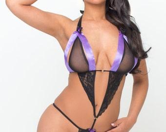 Purple Ribbon Stretch Lace Bodysuit Lingerie Teddy Play Suit