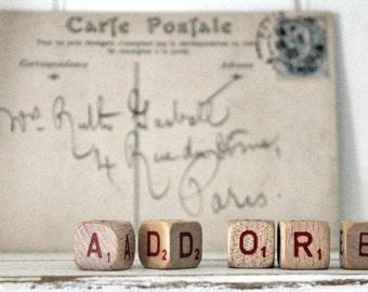 vintage letter cubes ADORE