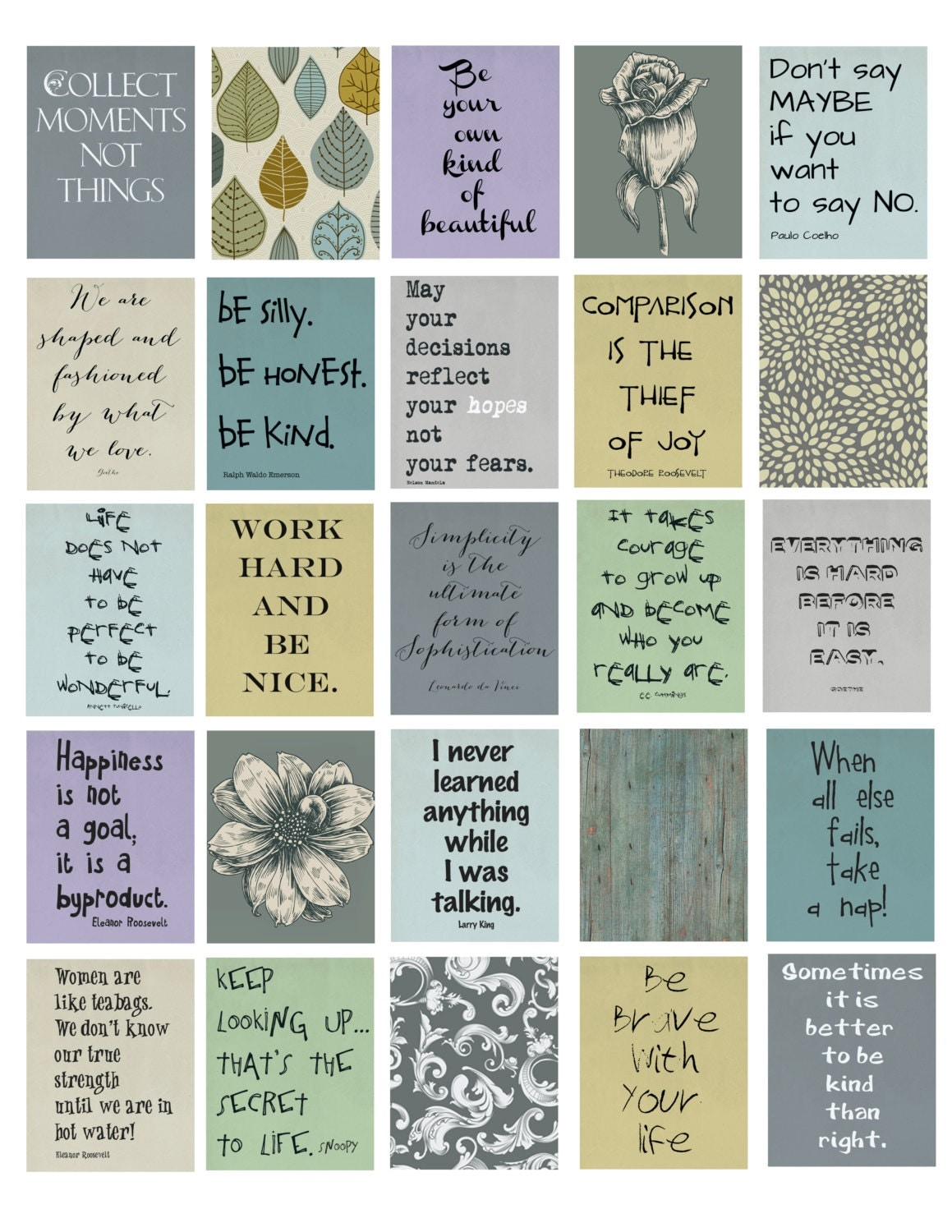 Life Quotes Life Planner Printable 1.5x1.9