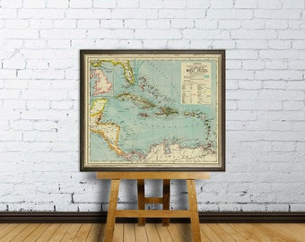 West Indies map  - Antilles map - Old map of West Indies  reproduction - Wall map